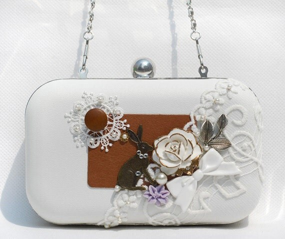 Flower Rabbit Box Clutch White Tan Leather Fairy Bunny Lace Pearl Bowknot Wedding Brides Bridemaids Prom Handbag Dressing Case Minaudiere