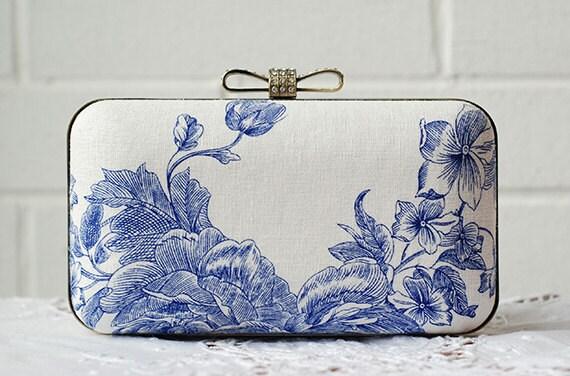 Oriental Blue Porcelain Box Clutch White Cotton Linen Floral Bridesmaid Clutch Vintage Pouch Retro Evening Bag Brides Wedding Minaudiere