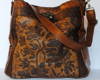 """Large Leather Tote with Lily Floral Print """"The Emilie"""""""