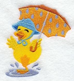 Desi Duck Under Umbrella Embroidered Cotton Terry Hand Towel