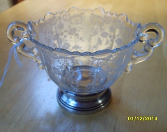 Cambridge Chantilly Bowl with Sterling Base, Etched Glass Sugar Bowl with Sterling Silver Base, Cambridge Glass Co., Chantilly