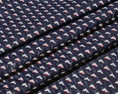 Vintage Navy Blue Jacquard Fabric Geometric Red White and Blue