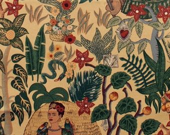 Frida Kahlo's Garden Heavy Oxford- Alexander Henry Scenes 1 Yard Fabric