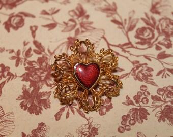 50s Filligree Enamel Brooch / Red Enamel in gold filigree / Heart Brooch