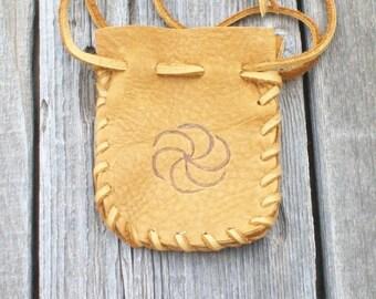 Buckskin medicine bag with spiral totem , Drawstring pouch , Amulet bag