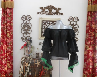 Black Sheer Renaissance Pirate Shirt Chemise Poet Blouse Top With Green Lace Trim. Different Colors Available.
