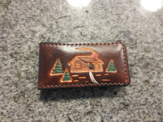 Leather Money Clip with Cabin Scene-ready to ship!