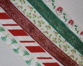 FREE Shipping Make 90 Hair Ties 24 yds Red Green White Candy Cane Glitter Metallic Christmas XMAS Holly Print Foldover Elastic DIY