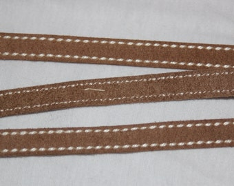 """2 or 10 yards tan brown Mokuba sewing suede side stitched ribbon trim 3/8"""" wide"""