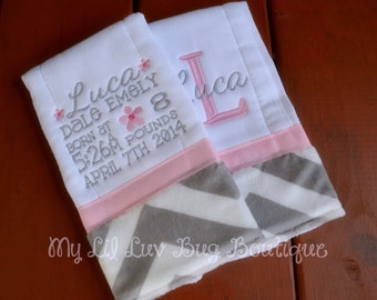 Personalized Burp cloth set prefold diaper- baby pink with grey and white chevron print flowers- set of two birth stats