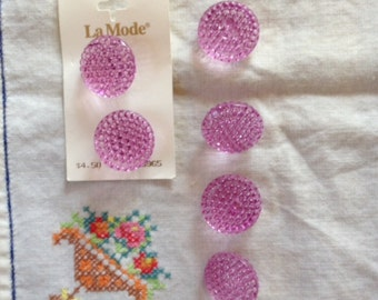 6 Large Lavender Faceted Plastic Buttons by La Mode - 2 still on card