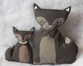 WOLFS big and small wolf plushies - fabric plush softie play kids unique toy