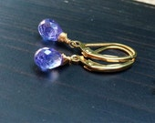 Periwinkle Tanzanite stone Earrings.  Natural Tanzanites. Purple blue drops.  Gemstone jewelry