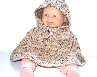 Hand Knit baby poncho with hood  tweed  tan rust pure  Norway  wool Baby boy poncho Baby Girl outfit   Baby Shower gift made in Colorado