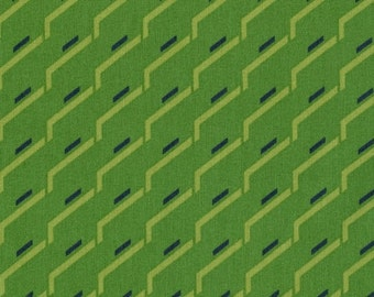 Sale-Ikebana Sidestep in Green from Dear Stella - Full or Half Yard Green and Charcoal Modern Quilt Fabric