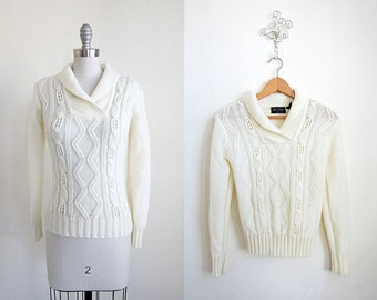 Cable Knit Sweater/ 80s/ Cream Shawl Collar