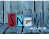 Winter snowman snow wood block set seasonal Christmas decor gift snowman collector personalized sign