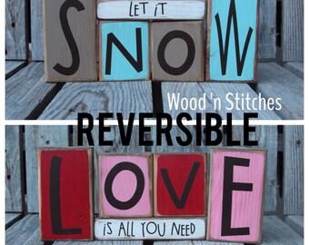 Reversible snow love primitive wood winter christmas snowflake snowman collector home seasonal decor . . . wood block set sold seperately