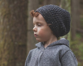 Charcoal Toddler Slouchy Beanie, Crochet Slouchy Hat for Toddlers, Boy's Beanie, Girl's Hat, 12 Months to Adult (Morgan)