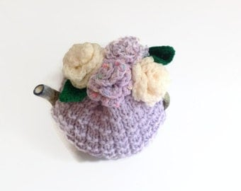 tea  cosie cozy hand knitted with cream   crochet roses