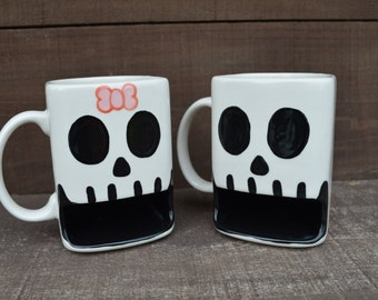 Til Death Do Us Part - Hers Skull Ceramic Cookies and Milk Dunk Mug- Pink Bow - Ready to Ship