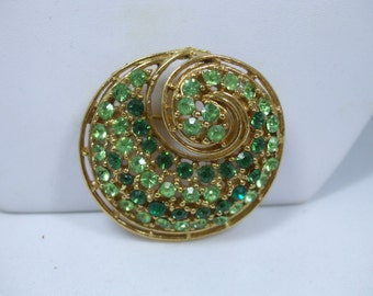 Vintage Large Gold tone, two shades of green rhinestones BroochVery good condition