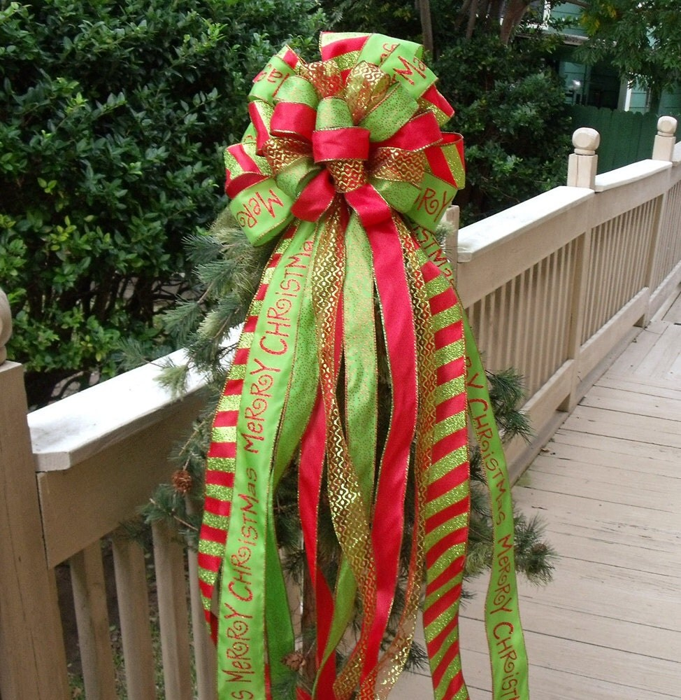 christmas bow toppers red and lime christmas tree topper bow. Black Bedroom Furniture Sets. Home Design Ideas