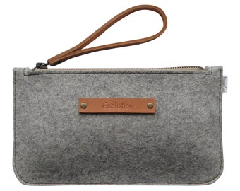Minimalist Wool felt clutch- iPhone wallet.Size S. Durable-Handmade in Switzerland- Silver grey - classy  Design-Leather strap