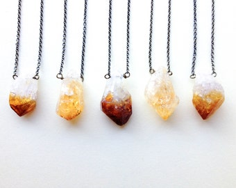 Raw Crystal Necklace: Citrine