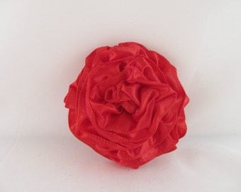 Ribbon Rose Pin-Hair Clip-Brooch-Red