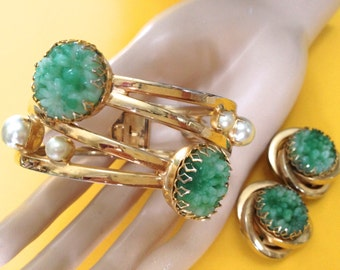 Peking Glass Retro Faux Pearl Hinged Cuff Clamper Big Earrings Gold Plated