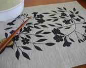 Linen Placemats (set of 4) Screen Printed Linen Place Mats Floral Placemats Screenprinted Linen Table Mats Black&Natural - PalumaPrint
