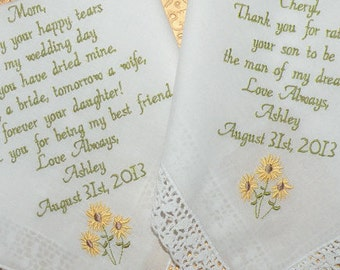 Sunflower Wedding Embroidered Wedding Handkerchiefs Sunflowers Springtime Wedding Theme on Etsy by Canyon Embroidery