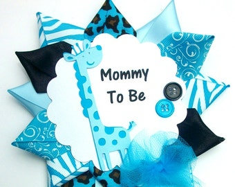 Blue Giraffe Baby Shower Corsage - Safari or Jungle Theme - Turquoise Blue and Black -  Ready To Ship