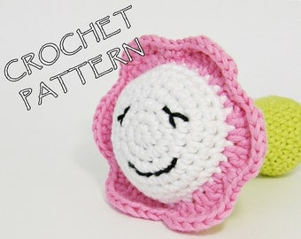 Amigurumi crochet pattern little flower soft toy - pdf tutorial in US English