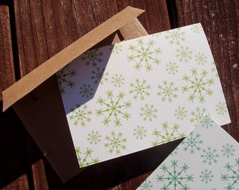 Snowflake Note Cards - Green Winter Snowflakes, Seasonal Card Set, Olive Green White Holiday Stationery, Wintry Snow Festive Thank You Notes