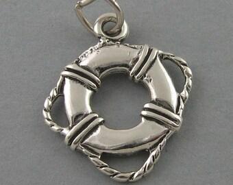 Sterling Silver Charm Pendant LIFE PRESERVER Nautical Ocean Beach 2385