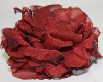 Rust Chiffon Flower  Hair Clip