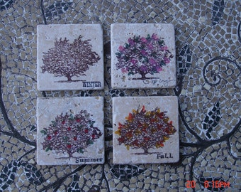 Vintage Tumbled Stoneware Square Tiles in the Four Seasons