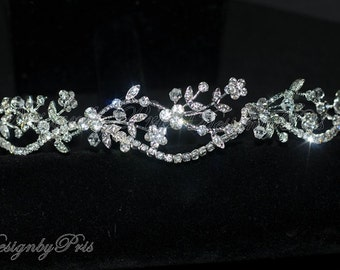 NEW - HPH7-1 Bridal Headpiece.Wedding Accessories Bridal Rhinestone Floral and Clear Crystals Headband