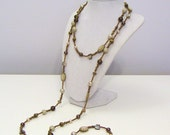 Brown and Cream Mixed Beads Extra Long Necklace and Earrings Jewelry Set - Chocolate and Vanilla