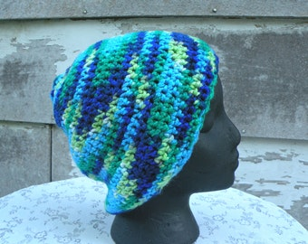 Slouch Hat, Multi Colored Hat, Loose Fitting Crocheted Hat, Adult, Greens and Blues, Large