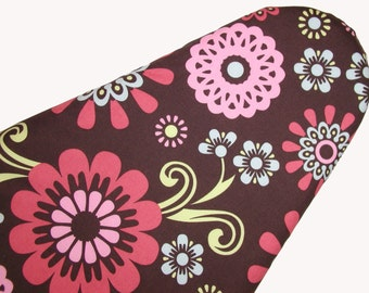 Ironing Board Cover - Standard Size in Pink, Lemon, Blue, and Dark Coral Flowers on a Chocolate Brown background