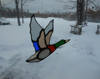mallard flying I, stained glass suncatcher