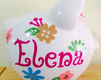 Personalized Large Petals flowers butterfly Piggy  Bank Newborns ,Girls , Flower Girl,Baby Shower Gift Centerpiece