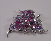 "SARAH COVENTRY BROOCH, ""Dazzling Aurora"", Red Aurora Borealis Stones, Vintage Costume Jewelry"