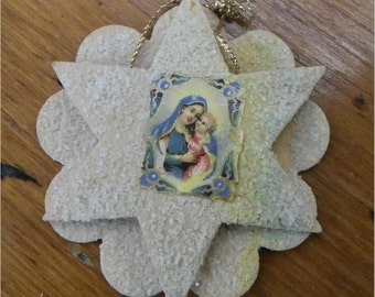 VENETIAN DEW ORNAMENT, 1920's, Czech, Layered Design with Victorian Scrap Madonna and Child, Antique Christmas, Holiday Decor