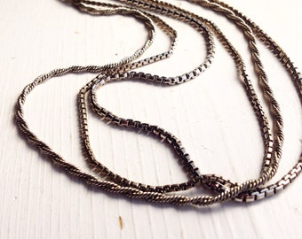 Silver Multi Chain Vintage Necklace