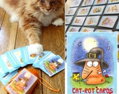 CAT TAROT cards- Cat-rot Cards  - full tarot deck-  funny orange cat - PookieCat
