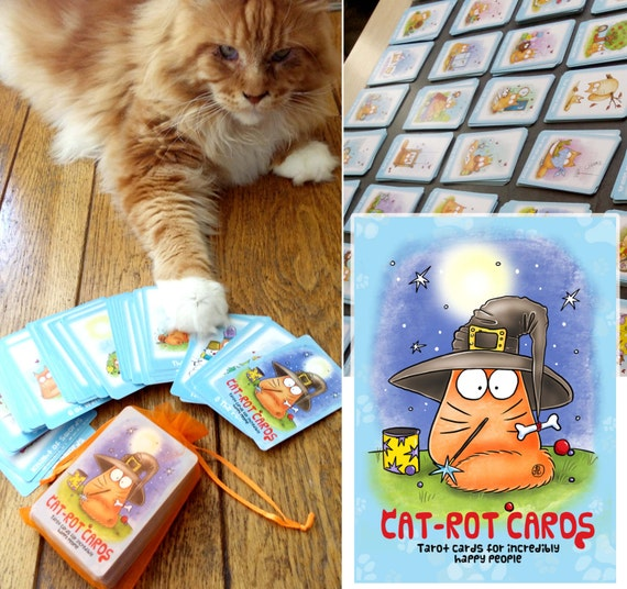 CAT TAROT cards- Cat-rot Cards  - full tarot deck  Second Edition!!! (including one extra card)  Bestseller!- PookieCat